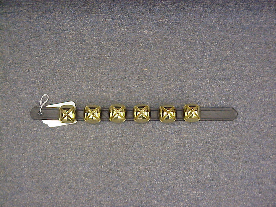 "Bells 6 On Leather Strap 1"" X 16"" Brass"