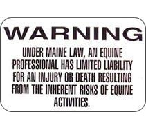 Equine Liability Sign Maine