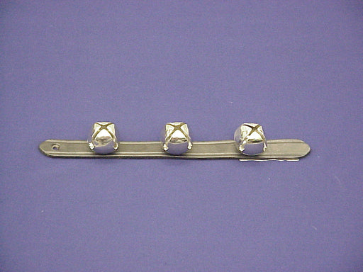 "Bells 3 On Leather Strap 1"" X 12"" Chrome"