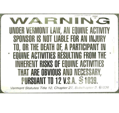 Equine Liability Sign Vermont