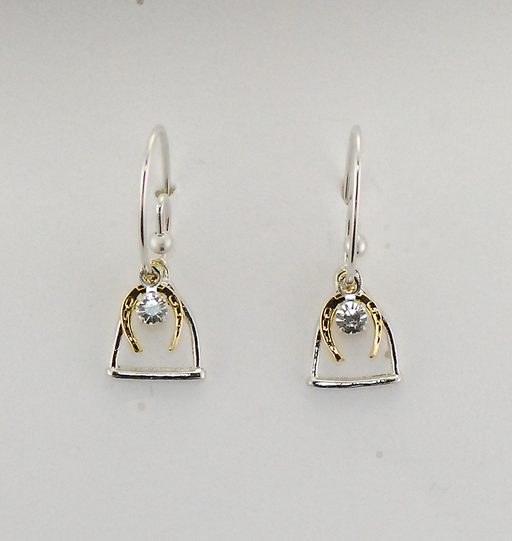 STIRRUP W/ HORSE SHOE & CRYSTAL STONE EARRINGS