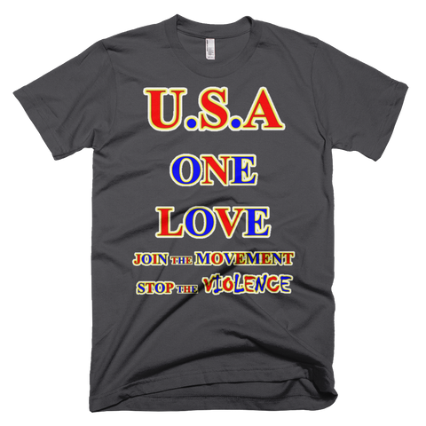 1681-T ... U.S.A. ... BIG RED ... ONE LOVE ... T-SHIRT