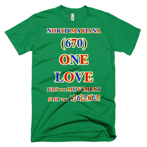 1493-T ... NORTH MARIANA ISLAND ... Area Code 670 ... ONE LOVE ... T-SHIRT