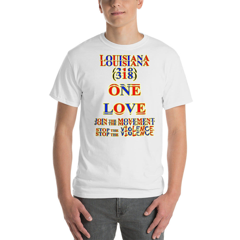 1261 - T ... LOUISIANA ... Area Code 318 ... ONE LOVE ... STOP THE VIOLENCE ... T-SHIRT