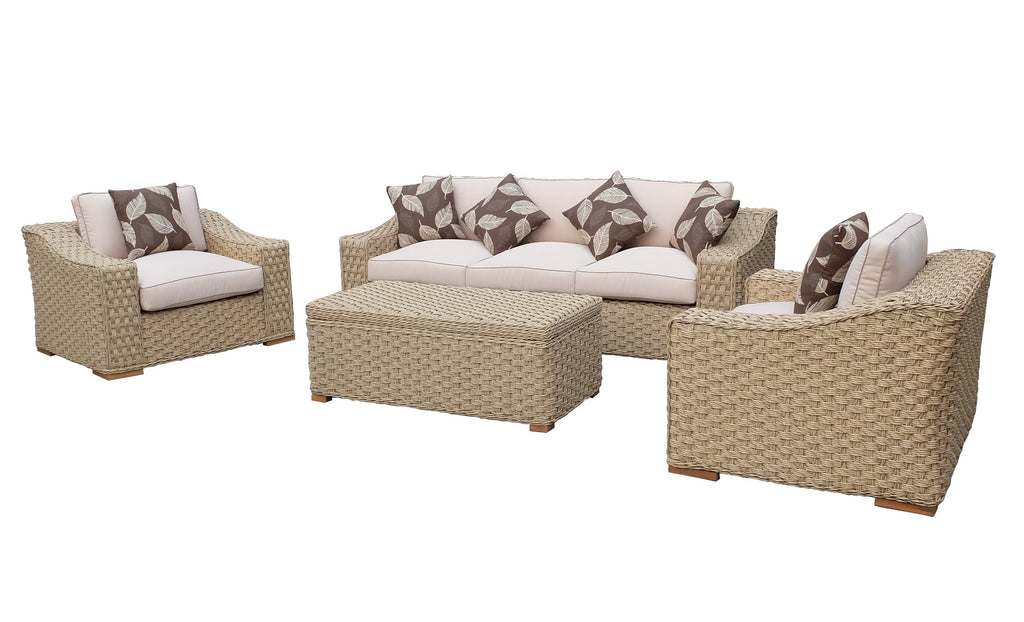 SALE Hampton Bay (rope) 4 Piece Patio Dining Set  Assembled With Cushions