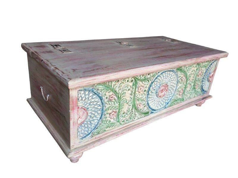 KGN SIBOX01 Painted Wooden Trunk/Coffee Table