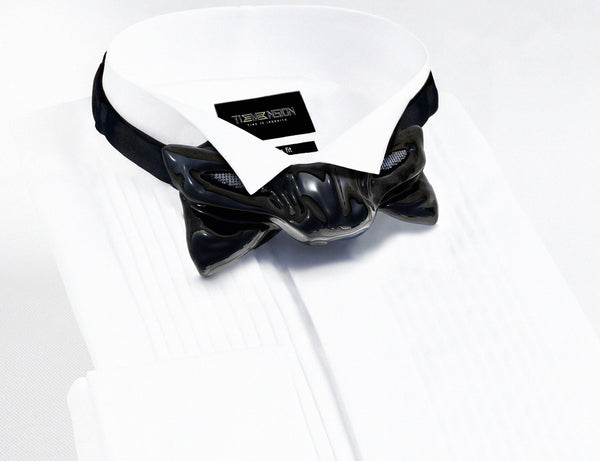Tiemension Close up Panther Black bow tie with inlayed diamond eyes on White Tuxedo dress Shirt