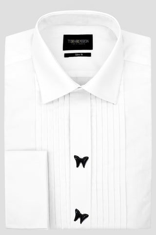 Maison White pleated Shirt with Bow tie Buttons