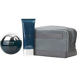 Bvlgari Aqua By Bvlgari Edt Spray 3.4 Oz & Aftershave Balm 3.4 Oz & Pouch For Men
