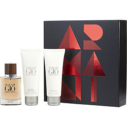 Acqua Di Gio Absolu By Giorgio Armani Eau De Parfum Spray 1.35 Oz & Aftershave Balm 2.5 Oz & Shower Gel 2.5 Oz For Men