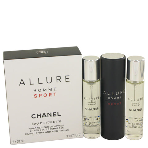 Allure Homme Sport By Chanel Mini Edt Spray + 2 Refills 3 X .7 Oz / 3  X 21 Ml For Men