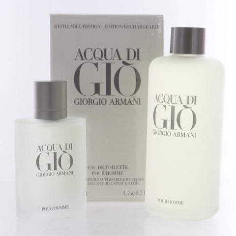 Acqua Di Gio By Giorgio Armani 2 Piece Gift Set - 1.7 Oz EDT Spray, 6.7 Oz- EDT Recharge Refill For Men