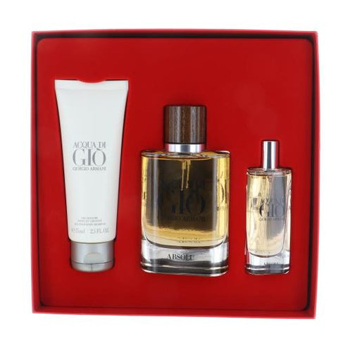 Acqua Di Gio Absolu By Giorgio Armani 3 Piece Gift Set - 2.5 Oz EDP Spray, 0.5 Oz EDP Spray, 2.5 Oz All Over Body Shampoo For Men
