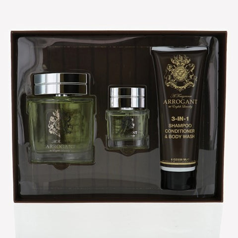 Arrogant By English Laundry 3 Piece Gift Set - 3.4 Oz EDT Spray, 8.0 Oz Body Wash, 0.68 Oz EDT Spray For Men