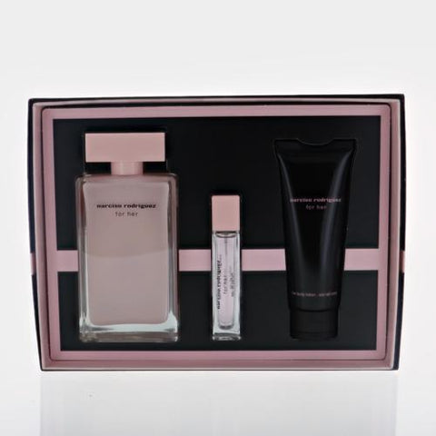 Narciso Rodriguez By Narciso Rodriguez 3 Piece Gift Set - 3.3 Oz EDP Spray, 2.5 Oz Her Body Lotion, 2.5 Oz Her Shower Gel For Women
