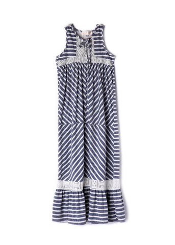 Isobella and Chloe Girl's Slate Blue Stripe Maxi