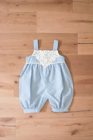 Blue Seersucker Romper with Lace Trim