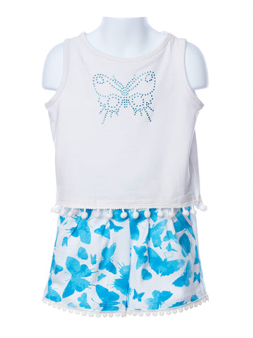 Three Friends Short Set with Butterfly Embellishment