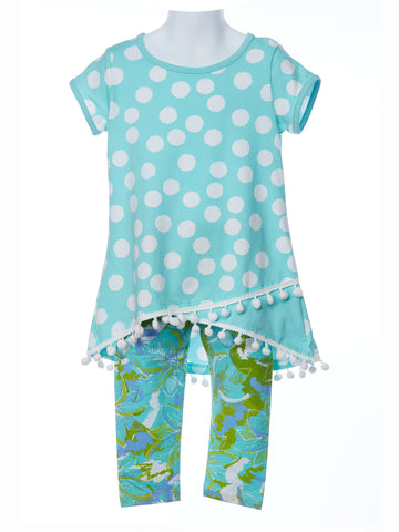 Three Friends Aqua Dizzy Dot Tunic with Aqua Spring Capris
