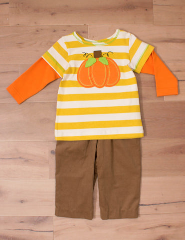 Peaches & Cream Baby Boy's Pumpkin T-shirt & Pants