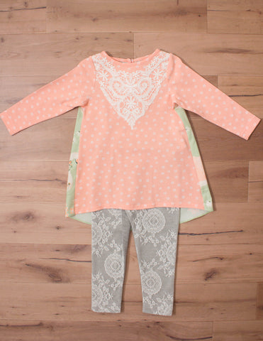 Peaches n' Cream Girl's Tunic Set with Lace Accents