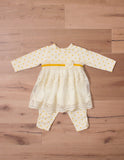 Peaches & Cream Baby 2 piece set in Ivory & Goldenrod