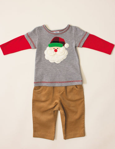 Boys 'n Berries Baby Boy Santa Tee and Cord Pants