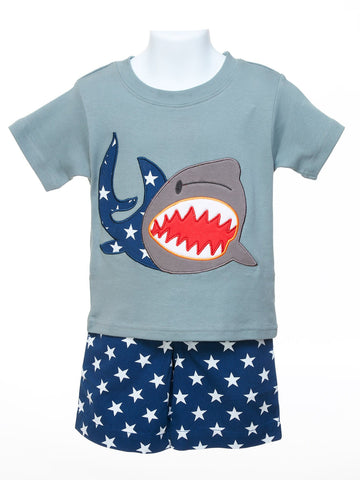 Shark Tee & Navy Stars Shorts
