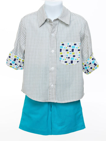 Grey Check Shirt with Turquoise Shorts