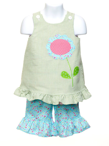 Reversible Toddler Popover with Appliqued Gator / Flower