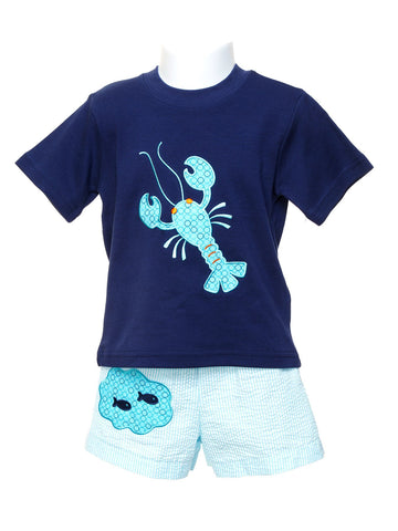 Mulberry St. Navy Toddler T-shirt with Appliqued Aqua Lobster & Swim Trunk