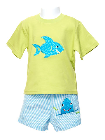 Lime T-shirt with Appliqued Shark & Swim Trunks