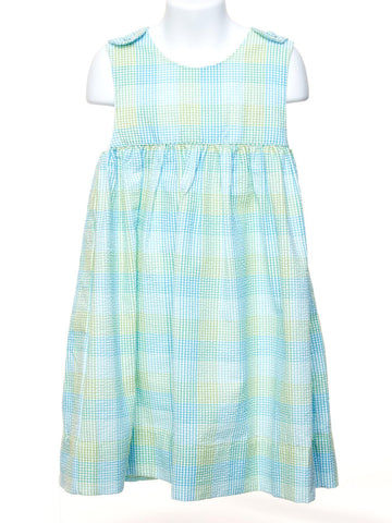 Green and Blue Checked Plaid Toddler Dress