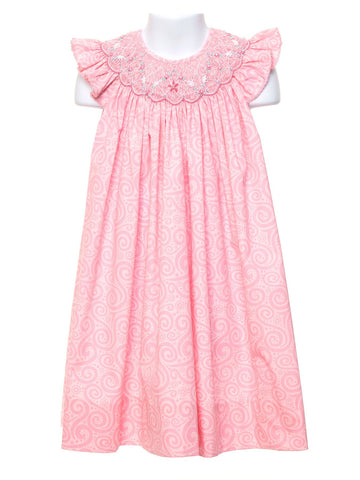 Peachy Pink Smocked Angel Wing Dress