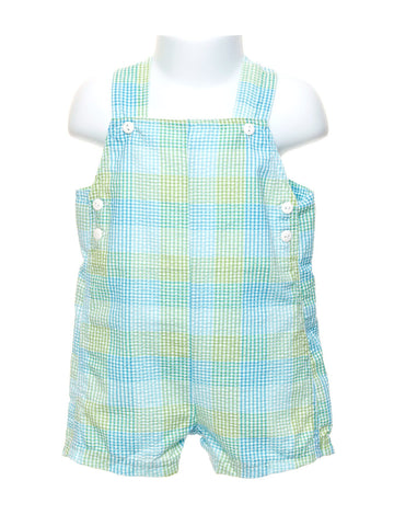 Green and Blue Checked Plaid Baby Boys Overall