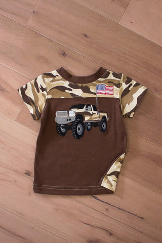 Wally &  Willie Toddler Boy T-shirt with Big Truck Appliqué