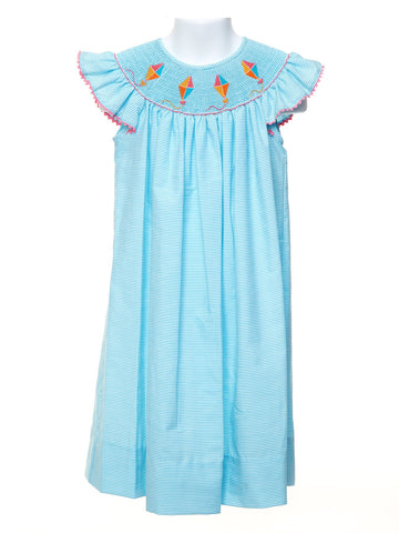 Anavini Smocked Kites on a Angel Wing Bishop Dress