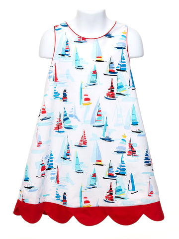 Regatta-A-Line Girl's Dress with Bow