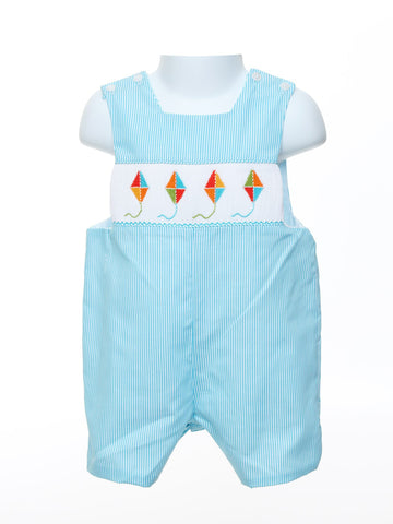 Anavini Smocked Baby Boy's Romper with Embroidered Kites