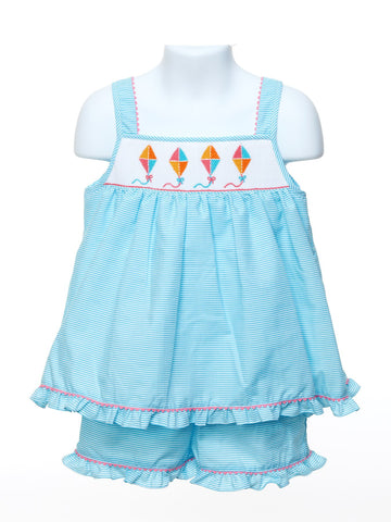 Anavini Girls Short Set With Smocked Kites