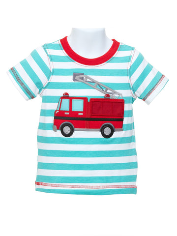 Boy's T-shirt with Appliquéd Fire Truck