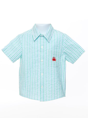 Boy's Collar Shirt with Crab Motif