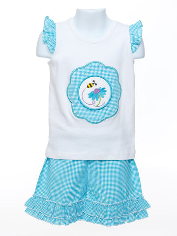 Baby Girl's Turquoise Gingham Short Set