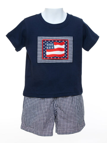 Baby Boys Navy Shirt with Reversible Shorts