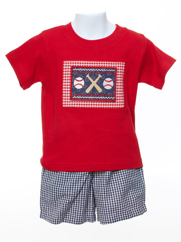 Baby Boys Red Shirt with Reversible Shorts