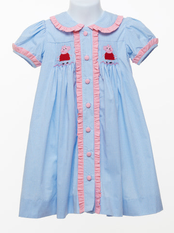 Three Sisters Pig Smocked Dress for Baby Girl