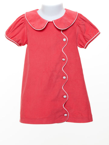 Three Sisters Toddler Girl Coral Cord Scalloped Dress