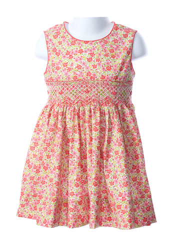 Anavini Smocked Elizabeth Sundress in Coral Floral