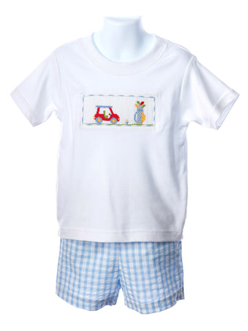 Anavini Smocked Golf White T-Shirt & Plaid Shorts