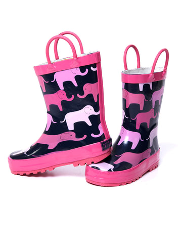 Timbee Pink Elephant Rain Boots